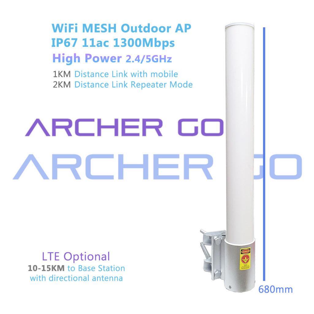 WiFi MESH High Power Outdoor AP 11ac 4x4 1300 LTE Archer Go