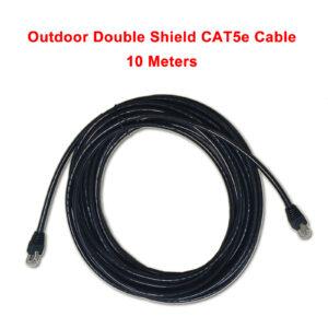 Outdoor double shield CAT5E cable metal RJ45 ends 10m