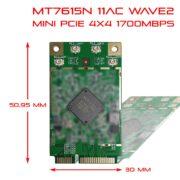 WiFi Mini PCIe Module MTK MT7615 4T4R 11ac 1.7Gbps AW7615-NP1