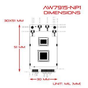 WiFi6 4T4R 2.4G / 5GHz Dual Bands Dual Concurrents mPCIe Card IEEE802.11ax/ac/a/b/g/n AW7915-NP1 Dimension