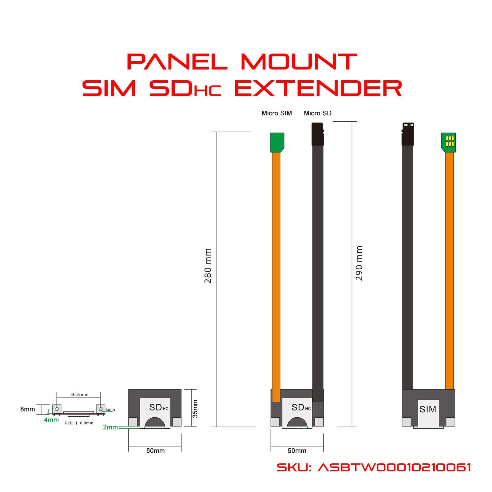 Panel Mount SIM SD Extender Diagram