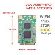 WiFi6 2T2R Dual Bands Dual Concurrents DBDC mPCIe Card IEEE802.11ax 2.4G 5GHz MT7915 AW7915-NPD